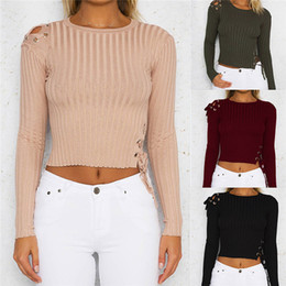 $enCountryForm.capitalKeyWord Canada - New Pullover Women Crop Top Jumper Knitwear Long Sleeve Sweater Women Autumn Winter Black Red Army Green Apricot Knitted Sweater DY DCS-1743