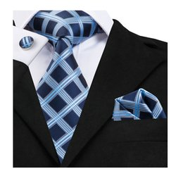 silk plaid NZ - Hi-Tie 100% Silk Tie Set Business Men Plaid Blue Necktie Handkerchief Cufflinks Set Ties for Men Wedding Party Gravata SN-1754