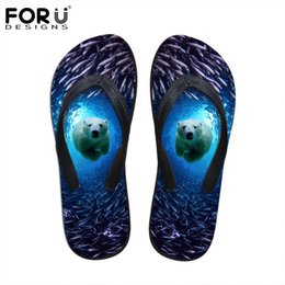 b84875f4afb82 FORUDESIGNS 2018 Summer Women Flip Flops 3D Blue Sea Animals Dolphin  Printed Rubber Flipflops Fashion Woman Beach Slippers Shoes