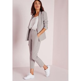 Women pants suits for Weddings online shopping - Office Lady Suit Lady Uniform Business Nine Minutes of Pants Suits for Women Elegant Formal Party Suits for Wedding Piece