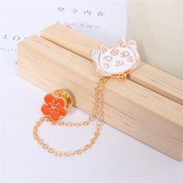 $enCountryForm.capitalKeyWord Canada - Fashion Enamel Animal Tie clips Cute Cartoon Kitten Cat Flower needle Pin with Chain Suit Jacket Clothes buckle Gifts Jewelry