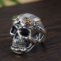 skull ring mix 2019 - whole saleFNJ 925 Silver Skull Ring Skeleton Original Pure S925 Sterling Thai Silver Rings for Men Jewelry Adjustable Si