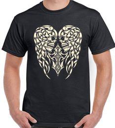 $enCountryForm.capitalKeyWord NZ - Skull Angel Wings Mens T-Shirt Motorbike Motorcycle Harley Bike Biker Tattoo Ink New Fashion Mens Short Sleeve T shirt Cotton T Shirts