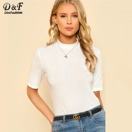 Wholesale Dashion Mock Neck Rib Knit Tee Shirt Spring White Stand Collar Slim Fit Plain Women Tee Short Sleeve Stretchy T Shirt