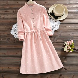 $enCountryForm.capitalKeyWord Australia - Japanese Mori Girl Autumn Winter Women Warm Dress Pink Polk Dot Cute Kawaii Mini Ladies Dress Korea Elegant Vintage Fleece Dress