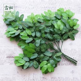 silk tree leaves 2019 - Artificial Green Leaf Plants Lifelike Eco Friendly Simulation Garden Leaves For Home Decor Tree Silk Branches CCA10706 1
