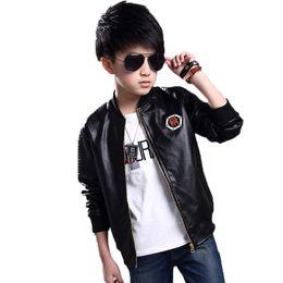 $enCountryForm.capitalKeyWord NZ - Faux Leather Jacket Children Waterbreaker Kids Leather Sports Jacket For Boys High Quality Windbreaker Motorcycle Hot Sale Coat