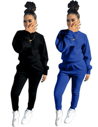 Cheap winter Clothing sets online shopping - Brand Designer women winter sportswear hoodie leggings tracksuit pullover tight piece set print letter outfits lady fall clothing cheap