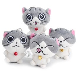 $enCountryForm.capitalKeyWord Australia - Cute Cartoon Cheese Cat Key Chain Ring Buckle Plush Toys PU Speckle Little Cat Lovely Bell Doll Bag Pendant Girl Gifts 3bl bb