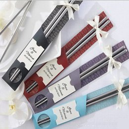 100Pairs lot 200pcs East Meets West Stainless steel chopsticks Chinese style wedding Wedding   Function favors gifts on Sale