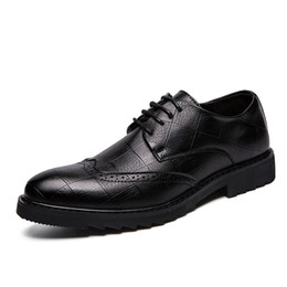 british casual shoes for men NZ - Men Formal brogue Shoes Fashion leather Dress Shoes For Men Casual British Style Oxfords High-quality Microfiber Leather carved Shoes hgf850