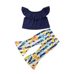 $enCountryForm.capitalKeyWord Australia - 2PCS Set New Fashion Clothing Set Toddler Kids Girl Off Shoulder Crop Tops Striped Floral Bell-bottom Flared Pant Trouser Outfit