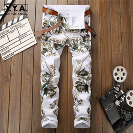 Pencil Fit Trousers For Men Canada - New Arrival Mens Casual Trousers Fashion Printing Floral Male Denim Pants Hip Hop Motorcycle Pants For Men Slim Fit Pencil
