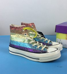 Discount board rainbow - Rainbow Colorful new gold Women Sneakers high Canvas board Casual shoes Top quality with box Free Shipping size 36-40