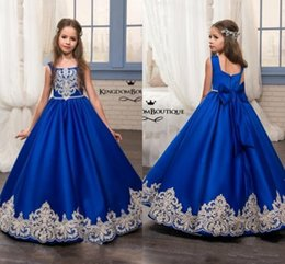 China Royal Blue Flower Girl Dresses 2019 Appliqued Cotton Kids Evening Prom Gowns Pageant Birthday Communion Dress MC1626 cheap dress photo suppliers