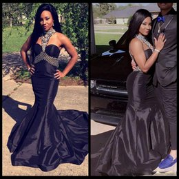 $enCountryForm.capitalKeyWord UK - 2018 Sexy Halter Black Grils Prom Dresses with Mermaid Crystal Beading Long Evening Party Gowns Customed