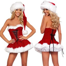 China Wholesale Personalized Bandage Decoration Christmas Clothing Golden Velvet Material Christmas Costumes Sexy Wipe Chest Red Costumes cheap sexy velvet clothing suppliers