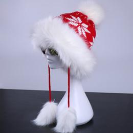767c34838ebab8 Wholesale- Women Winter Ushanka Russian Hat Fluffy Faux Fur Bomber Trapper  Pompom Earflap Warm Cap Wool Knitted Snowflake Beanies Skullies