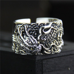 $enCountryForm.capitalKeyWord NZ - 925 sterling silver ring vintage Exaggerated personality men's ring Thai silver carved dragon wide mood ring adjustable hip hop jewelry