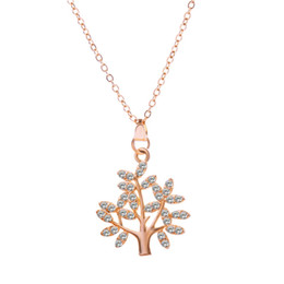 Wholesale Thin Silver Necklaces NZ - Life Tree of life shape Gold&Silver Color Zircon Austria Crystal Charm Pendant Choker Necklace Short Thin Chain Choker Necklace