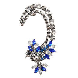 Chinese  Top Quality Luxury Rhinestone Crystal Ear Cuff Goth Punk Vintage Clip On Earrings For Women 5E308 manufacturers