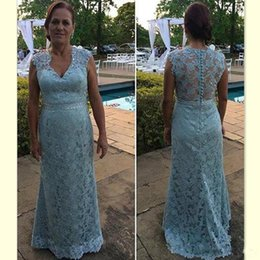 Blue Shirt For Wedding Australia - 2018 Light Sky Blue Lace Mother Of The Bride Dresses Long Floor Length Formal V-neck Illusion Back Evening Party Gowns For Wedding Wear