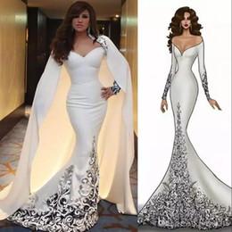 Discount dresses detachable cape - Myriam Fares Dubai Arabic Celebrity Dress Detachable Cape Off Shoulder Long Sleeves Beaded Applique Mermaid Evening Dres