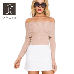 Pullovers For Long Tops Canada - Wholesale- 2016 Women Crop Top Series Autumn Winter Long Sleeve Off Shoulder Knitwear Casual Pullover Sweater For Women A16223