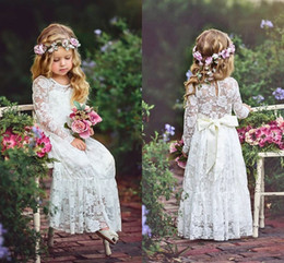 6a8e868e0 Ivory Lace Flower Girls Dresses For Weddings Long Sleeves Floor Length Boho  Children Wedding Birthday Party Dresses With Ribbon Sash