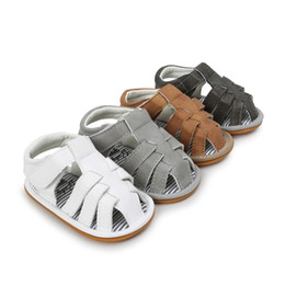 Brown Toddler Sandals Canada - Baby sandals summer new baby girls soft bottoms sandals children shoes Infant Toddler kids stripe PU non-slip sandals A00377