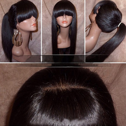 Human Hair bangs online shopping - Silky Straight Lace Front Wig with Full Bangs Ponytail Brazilian Virgin Human Hair Full Lace Wigs for Women Natural Color