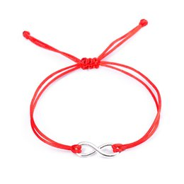 $enCountryForm.capitalKeyWord UK - All-Match Candy Colors Infinity Bracelets for Women Couple Silver Color Alloy Charm Lucky Red String Bracelets Jewelry