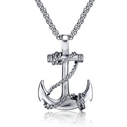 Chinese  Fashion Jewelry Men Necklace Stainless Steel New design Anchor pendant Gold Silver Black Necklace for Men manufacturers