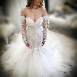 off shoulder wedding dress mermaid fit 2019 - Sexy Off Shoulder Mermaid Wedding Dresses Fitted Sheer Lace Illusion Country Long Sleeve Bridal Gown Arabic Train Bride