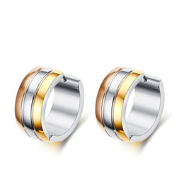 Chinese  Jewelry Earrings Three Tone Metal Clip-on Earrings For Men manufacturers