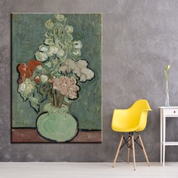 flower vase paintings canvas 2019 - Canvas HD Print Painting Wall Art Framework 1 Panel Bouquet Of Flowers In A Vase Poster Impressionism Pictures Living Ro