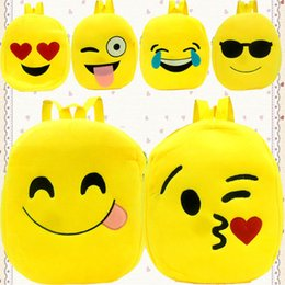 d752445116 Fashion Face Expression Plush Toy Children Backpacks for Kids Girls  Schoolbag Girl emoji Backpack School Bags 9 styles