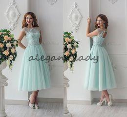b72bc2b726 Lace Beaded 2018 Beach junior Bridesmaid Dresses Sheer Neck A-line Tea  Length Maid Of Honor Dresses Mint Vintage Evening Party Dresses
