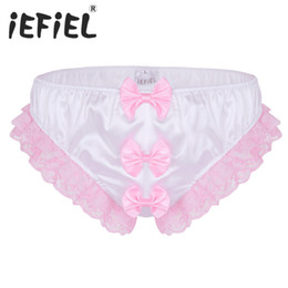 Wholesale New Arrival Mens Male Lingerie Shiny Ruffles Floral Lace Three Big Bows Sissy Stretchy Briefs Underwear Triangle Panties Brief