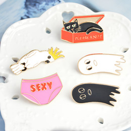 men cartoon underwear 2019 - Cat In The Box Sexy Underwear Bird Cute Ghost Cartoon Enamel Hard Metal Pins Brooches Badge Men Women Jewelry discount m