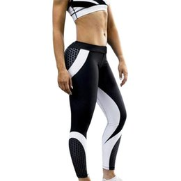 Women S Yoga Pants Wholesale NZ - 1pc Mix Color Line Women Yoga Pants Sexy Skinny Show Hip Gym Wear Trousers Sports Training Leggings Wearing Pants White Black
