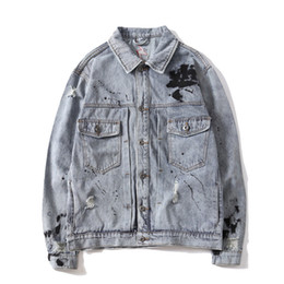$enCountryForm.capitalKeyWord NZ - MORUANCLE Fashion Men's Hi Street Ripped Painted Jean Jacket With Patchwork Distressed Denim Trucker Jacket Outerwear For Male