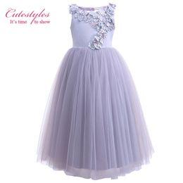 $enCountryForm.capitalKeyWord NZ - Cutestyles Long Flower Girl Dresses For Weddings Lavender Flower Party Dress For Teenager Girls Kids Clothing G-DMGD908-1053
