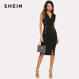 144cc8ccca SHEIN Black Elegant Notched V Neck Double Button Sleeveless Pencil  Knee-Length Skinny Dress Summer Women Sexy Workwear Dresses