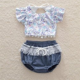 Discount toddler fashion sets - Baby new fashion floral lace outfits 2pc sets short sleeve halterneck leaves pattern top+lacework shorts cute toddlers g