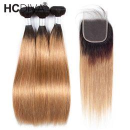 $enCountryForm.capitalKeyWord Australia - Pre-colored Raw Indian Hair 3 Bundles with Closure 1b 27 Ombre Blonde Straight Human Hair Weaves Bundles with Closure 100% HCDIVA Human Hair