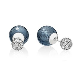 fc39c4c6f New 925 Sterling Silver Earring Midnight Blue Shimmering Stud Earrings For  Women Wedding Gift Fine Valantine Pandora Jewelry
