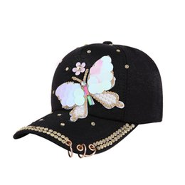 9b044b8f8c0 Luxury Women Baseball Cap Brand Bling butterfly Pearl Sequins Hip Hop Cap  Vintage Snap Back Design Casual Snapback Hat New