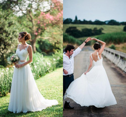 $enCountryForm.capitalKeyWord NZ - Lace Tulle A-line Boho Wedding Dresses Sleeveless Summer Informal Outdoor Bridal Gowns Chic Beach Wedding Gowns Custom Made