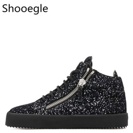 $enCountryForm.capitalKeyWord Canada - Bling Sequins Men Casual Shoes Black Lace Up Sneaker Top Zipper Glitters Flat Thick Bottom Creepers Zapatillas Hombre Shoes